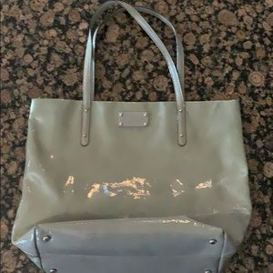 Kate Spade Large Gray Patent Leather Tote Bag